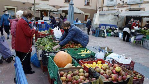 Vista del mercado semanal de El Fontán en Oviedo