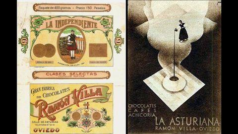 Anuncios de chocolate de Ramón Villa y La Asturiana, en la calle Asturias