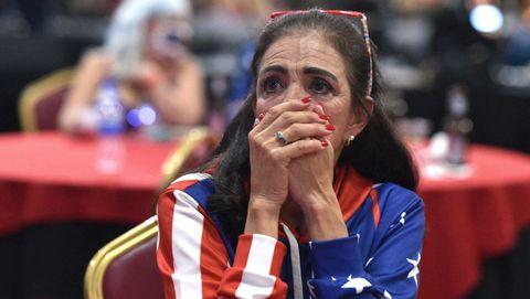 Una seguidora de Trump, en un acto republicano la noche electoral en Las Vegas