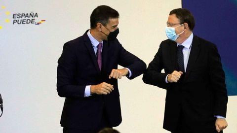 El presidente del Gobierno, Pedro Sánchez, y el presidente de la Comunidad Valenciana, Ximo Puig