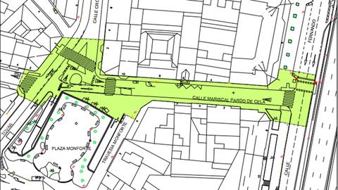 Plano de la peatonalización de la calle Mariscal Pardo de Cela, en A Coruña