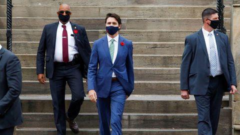 Trudeau, ayer en Otawa, durante una conferencia de prensa para discutir la respuesta a la pandemia del covid