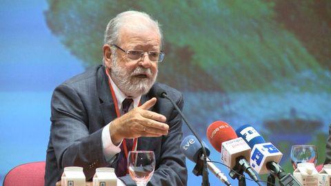 El expresidente de Extremadura, Rodríguez Ibarra, durante una conferencia en el 2019
