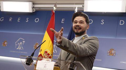 El portavoz de ERC, Gabriel Rufián, este martes en el Congreso