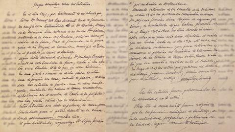 Documento escrito por Santiago Puga Sarmiento, conde de Gimonde, en 1955. ARCHIVO FAMILIA PUGA CARRASCO