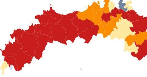 Mapa de incidencia covid en los últimos 14 días
