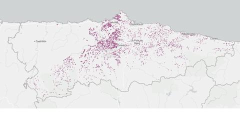 Los puntos violeta marcan las localidades en zona blanca (con menos de 30Mb/s) que quedan en Asturias