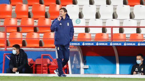 José Ángel Ziganda, durante el Lugo-Real Oviedo