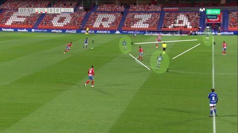 Inicio del Oviedo: 1-Arribas con balón. 2:Javi Mier, junto a Edgar (3) y Tejera (4) en la medular