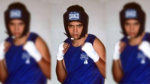Agustín Álvarez durante un entrenamiento con aproximadamente 18 años.