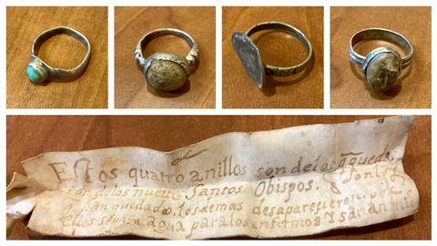 Detalle dos catro aneis atopados e o pergamiño que os acompañaba e en que se describen