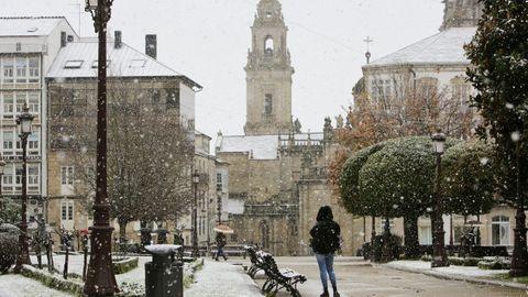 La Praza Maior de Lugo se cubre de nieve