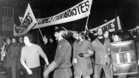 Manifestación en Paris, en diciembre de 1970, contra el proceso de Burgos
