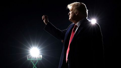 Donald Trump, esta madrugada, durante un mitin en Georgia