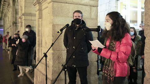 Raquel Vázquez en el encendido del alumbrado navideño de Lugo