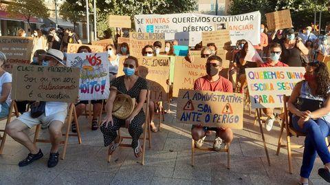 Protestas de profesores en Bueu a principios de curso pidiendo más medidas de seguridad en los centros educativos