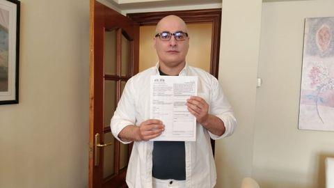 David Villafañe, con su escrito de alegación