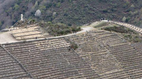 El mirador de Soutochao, sobre las viñas en bancales de Doade