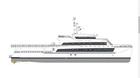 Perfil del catamarán de lujo, de 68 metros de eslora, 14 de manga y con cuatro cubiertas, construido por Armón con estructura de aluminio