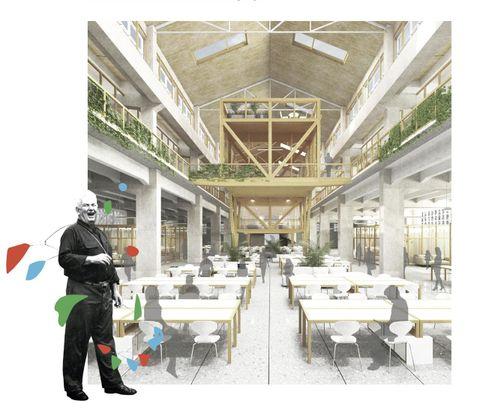 Imagen de la nave con la entreplanta en las naves laterales y el artefacto de madera en la nave central. En la esquina izquierda, los autores hacen un guiño a Alexander Calder (1898-1976), que aparece con uno de sus móviles al hombro