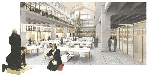 El edificio dispone zonas para aulas, laboratorio, espacios para empresas y «coworking», entre otros usos. A la izquierda, la arquitecta británica Alison Smithson (1928-1993), cuyo trabajo guio el proyecto, con su compañero, Peter Smithson, y un cliente (de pie)