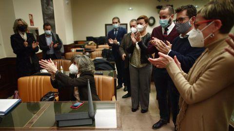 Aplausos en la Comisión de Justicia, tras ganar la votación para tramitar la ley.