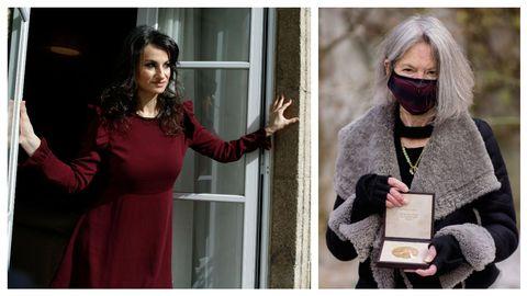 La poeta gallega Yolanda Castaño y la premio Nobel estadounidense Louise Glück