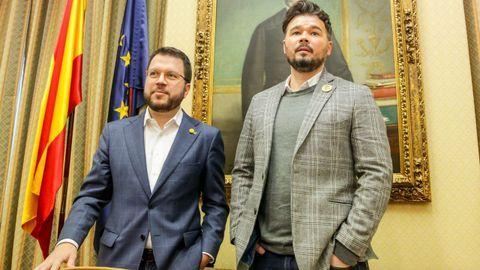 El presidente de la Generalitat, Pere Aragonés, y elportavoz de ERC en el Congreso, Gabriel Rufián