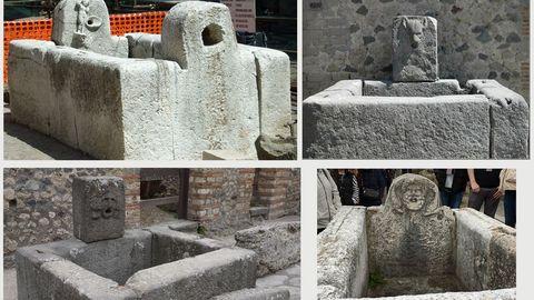 Ejemplos de conservación de fuentes romanas. En lugares tan señalados como Pompeya o Herculano se conservan las fuentes romanas, aunque dejaron de manar agua tras la erupción del Vesubio (izquierda)