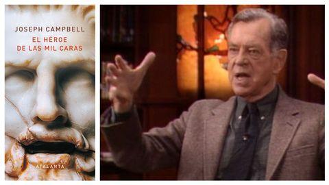 Joseph Campbell, en una entrevista televisiva. A la izquierda, portada de «El héroe de las mil caras»