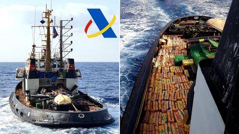Fotografías de la embarcación interceptada en la Operación Gigante y de la carga de hachís que transportaba