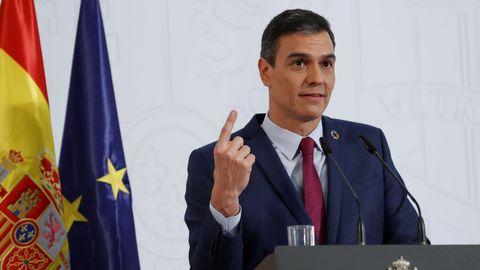 Pedro Sánchez, durante la presentación del informe sobre el cumplimiento de los objetivos del Gobierno