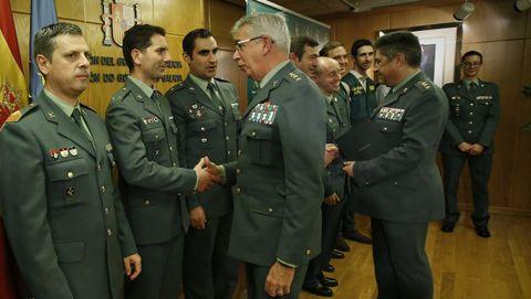 El coronel Corbí felicita a los guardias civiles que investigaron el caso Diana Quer, en un acto en A Coruña en enero del 2018