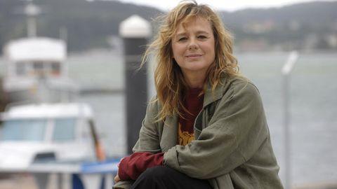 Emma Suárez, durante la grabación de la serie «Néboa» en Galicia
