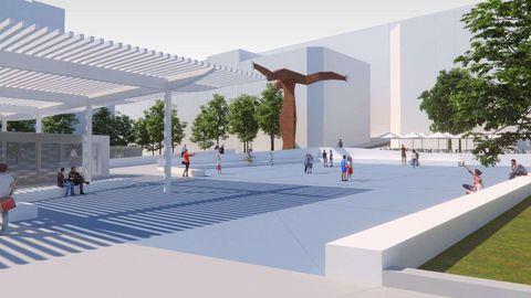 Una gran pérgola presidirá el centro de la plaza para cear una zona de sombra