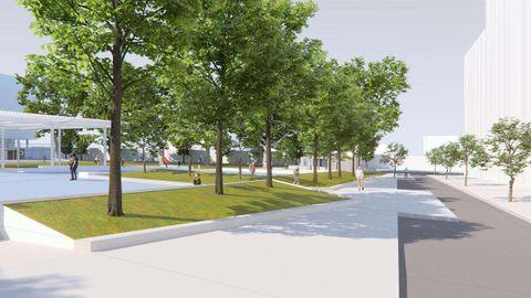 El tráfico se retsringirça un solo carril y habrá aceras más amplias en los edificios y zonas de aparcamiento de servicios en la plaza