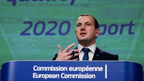 Virginijus Sinkevicius, comisario europeo de Medio Ambiente, Océanos y Pesca, en una comparecencia en la Eurocámara