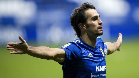 Arribas celebra su gol ante el Mallorca