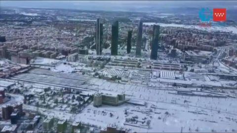 La nevada sobre Madrid, a vista de pájaro