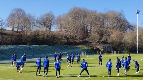 Los jugadores del Oviedo, en El Requexón