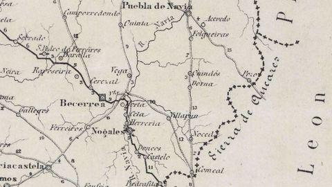 Mapa Itinerario do Distrito Militar de Galicia del año 1884, donde se habla de la sierra de Ancares