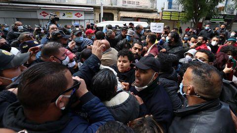 Manifestación por el décimo aniversario de las movilizaciones contra el régimen de Ben Alí