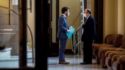 Pere Aragonés y Miquel Iceta, este miércoles en el Parlamento catalán