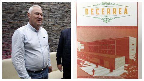 Manuel Martínez, alcalde independiente de Becerreá. Al lado, el reverso de uno de los naipes.