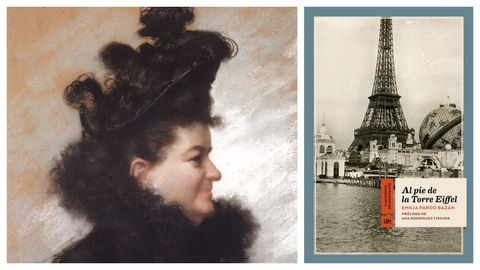 La condesa de Pardo Bazán, retratada por en 1896 por Joaquín Vaamonde Cornide. A la derecha, portada del libro de crónicas parisinas