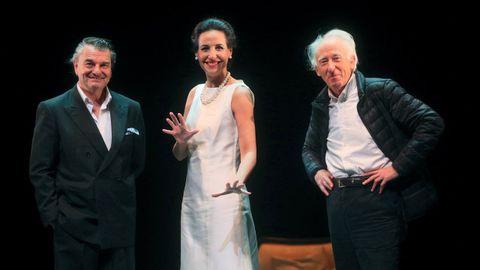 Los actores María Rey-Joly (Callas) y Antonio Comas (Onassis), con Boadella, durante los ensayos del montaje sobre María Callas