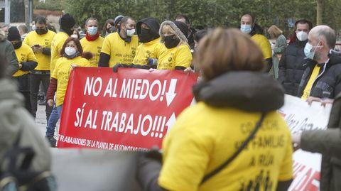 Protesta reciente de la plantilla de la fábrica de palas