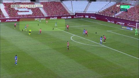 Ataque del Oviedo: 1-Lucas. 2-Sangalli, llegando a la izquierda. 3-Nahuel. 4-Zona de remate ocupada por Rodri y Leschuk