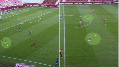 Juego directo del Oviedo sin Leschuk y Rodri. 1-Nieto golpea en largo. 2-Valle pierde el duelo con Clemente. 3-Nahuel, lejos de la acción