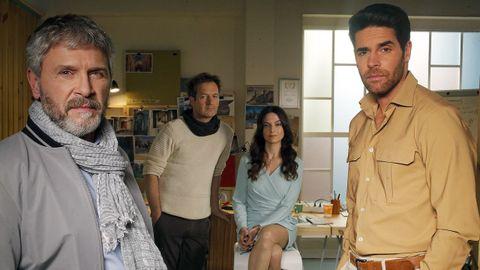 De izquierda a derecha, Luis Iglesia, Carlos Villarino, Susana Sampedro y Adrián Castiñeiras. Todos ellos forman parte del mundo de los actores dentro de la serie